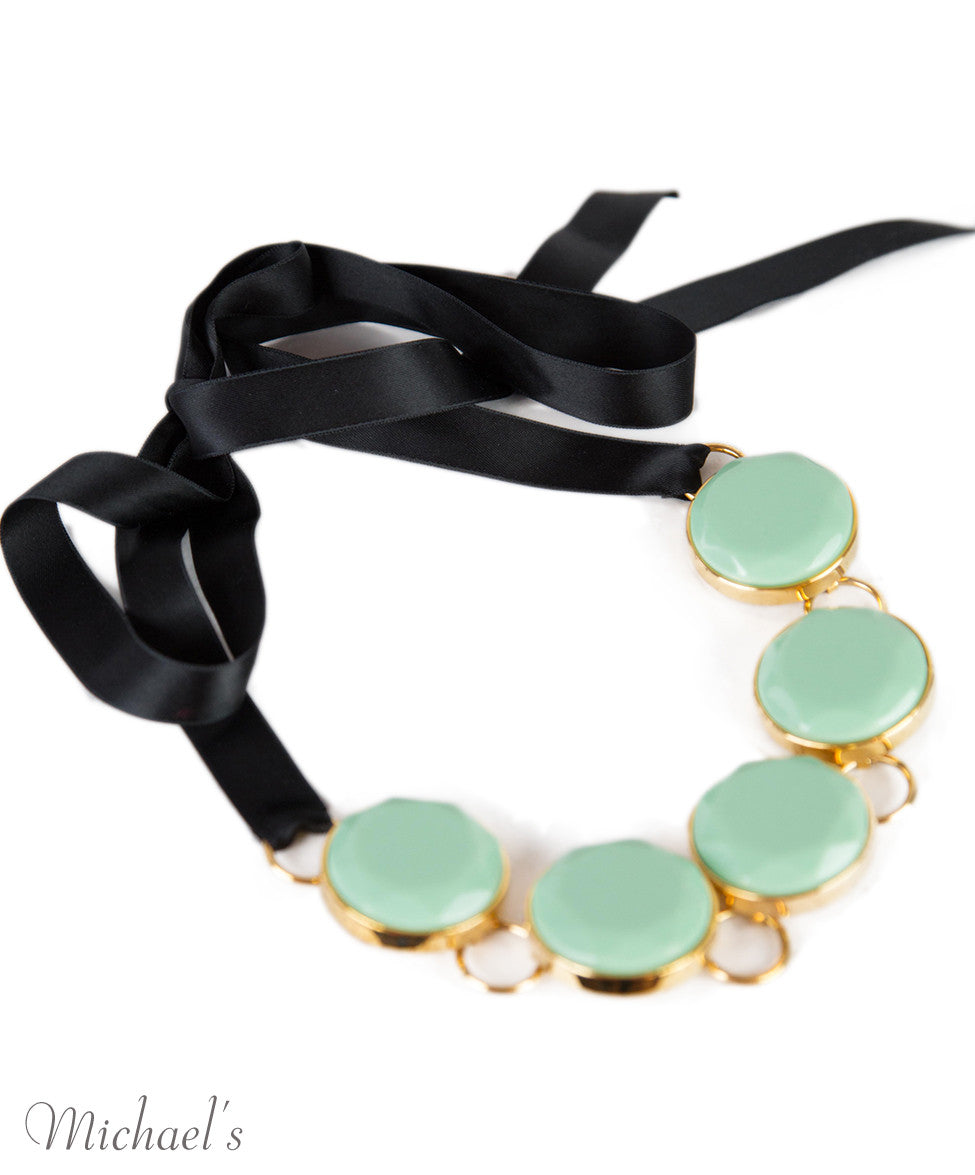Marni Mint Stone Black Ribbon Necklace