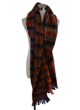 Shawl Marni Orange Blue Black Plaid Mohair Scarf 1