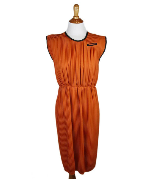 Marni Orange Cotton Pleated Dress Sz 4