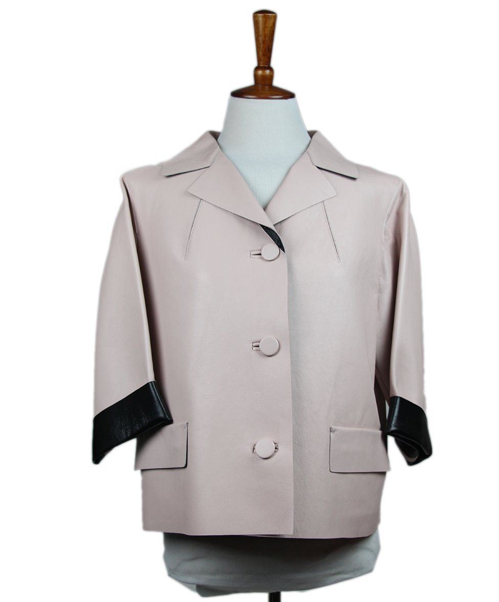 Marni Pink Pale Leather Jacket 1