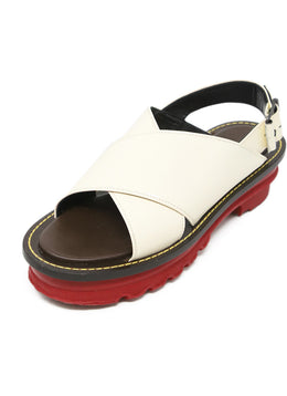 Marni White Cream Leather Red Shoes 1