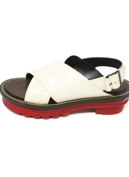 Marni White Cream Leather Red Shoes 2