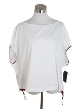 Marni White Cotton Red Top 1