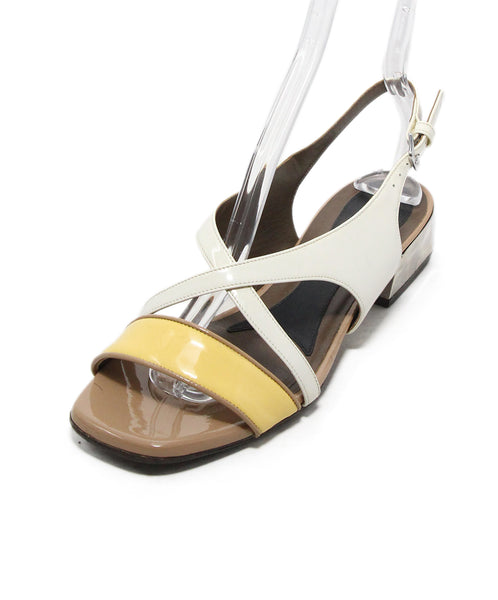 Marni White Yellow Tan Patent Leather Sandals 1