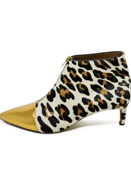 Marni Animal Print Gold Trim Pony Booties 2