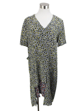 Marni Black White Yellow Print Viscose Dress 1