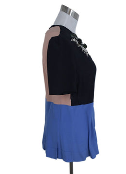 Marni Black Blue Pink Silk Rhinestones Top Blouse 2
