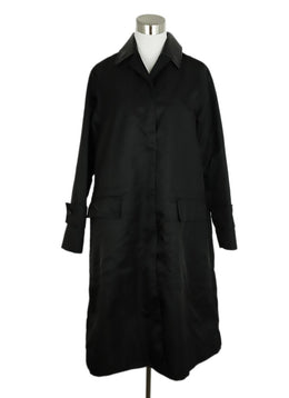Marni Black Polyamide Faux Leather Collar Trench Coat 1