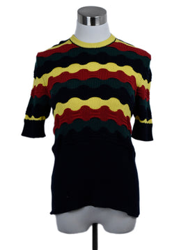 Marni Black Red Yellow Green Cotton Polyamide Sweater 1