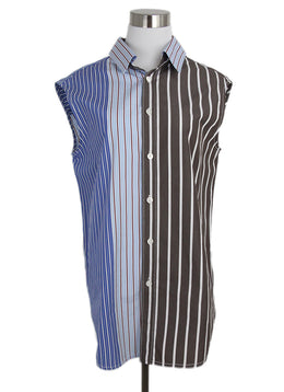 Marni blue brown stripes cotton shirt 1