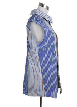 Marni blue brown stripes cotton shirt 2
