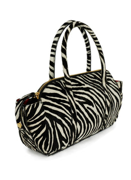 Marni Brown Ivory Zebra Pony Satchel Handbag 2