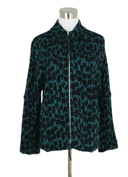Marni Green Forest Black Modal Print Jacket 1