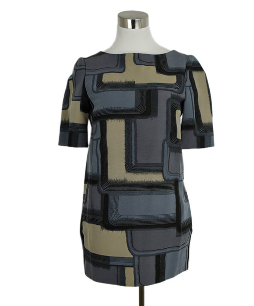 Marni Grey Black Tan Cotton Silk Print Tunic Top 1