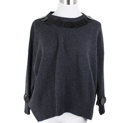 Marni Size 12 Grey Charcoal Wool Cashmere Black Sequins Collar Sweater
