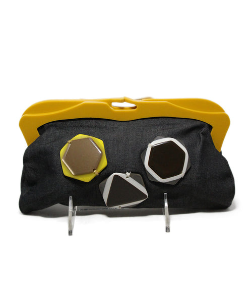 Marni Charcoal Cotton Yellow Plastic Applique Trim Clutch Handbag 1