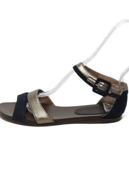 Marni Navy Pewter Leather Suede Sandals 2