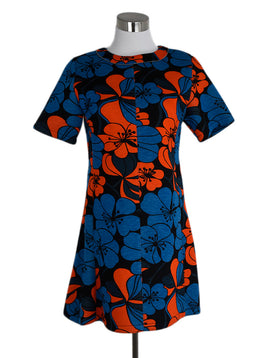 Marni Orange Blue Viscose Dress 1