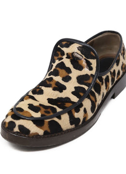 "Marni Shoe Neutral Tan Leopard Print Fur ""as is"" Shoes"