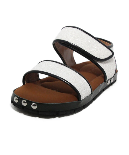 Marni white black leather glitter sandals 1