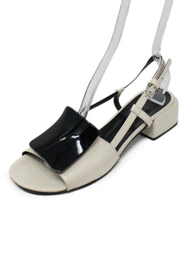 Marni White Black Leather Sandals 1
