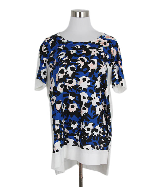 Marni White Blue Black Cotton Top 1