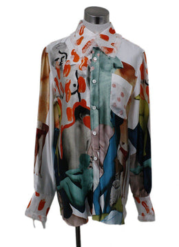 Marni White Orange Multi Photo Collage Blouse