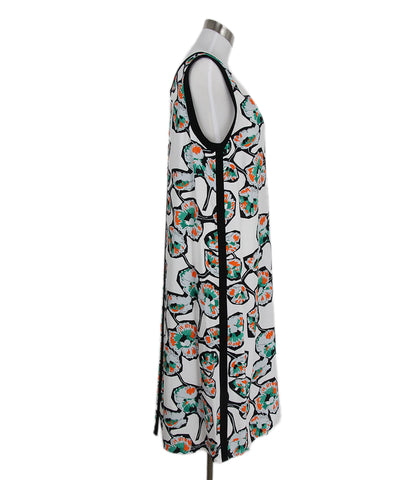 Marni White Orange Green Black Print Viscose Dress 1