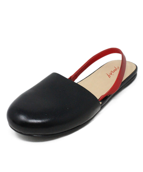 Marsell Black Leather Round Toe Flats with Red Leather Accent 1