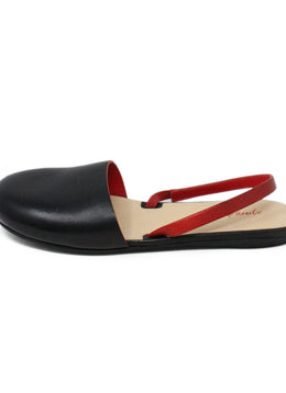 Marsell Black Leather Round Toe Flats with Red Leather Accent 2