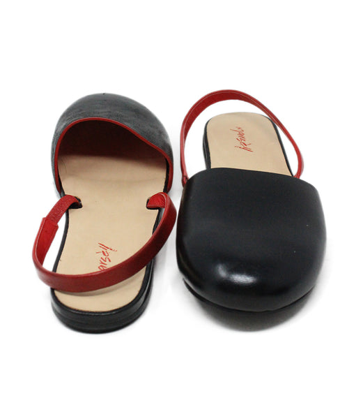 Marsell Black Leather Round Toe Flats with Red Leather Accent 3