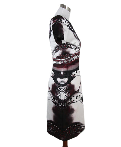 Mary Katrantzou black burgundy white print dress 1