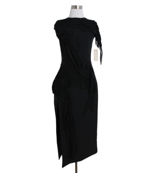 Maticevski black silk polyester dress 1