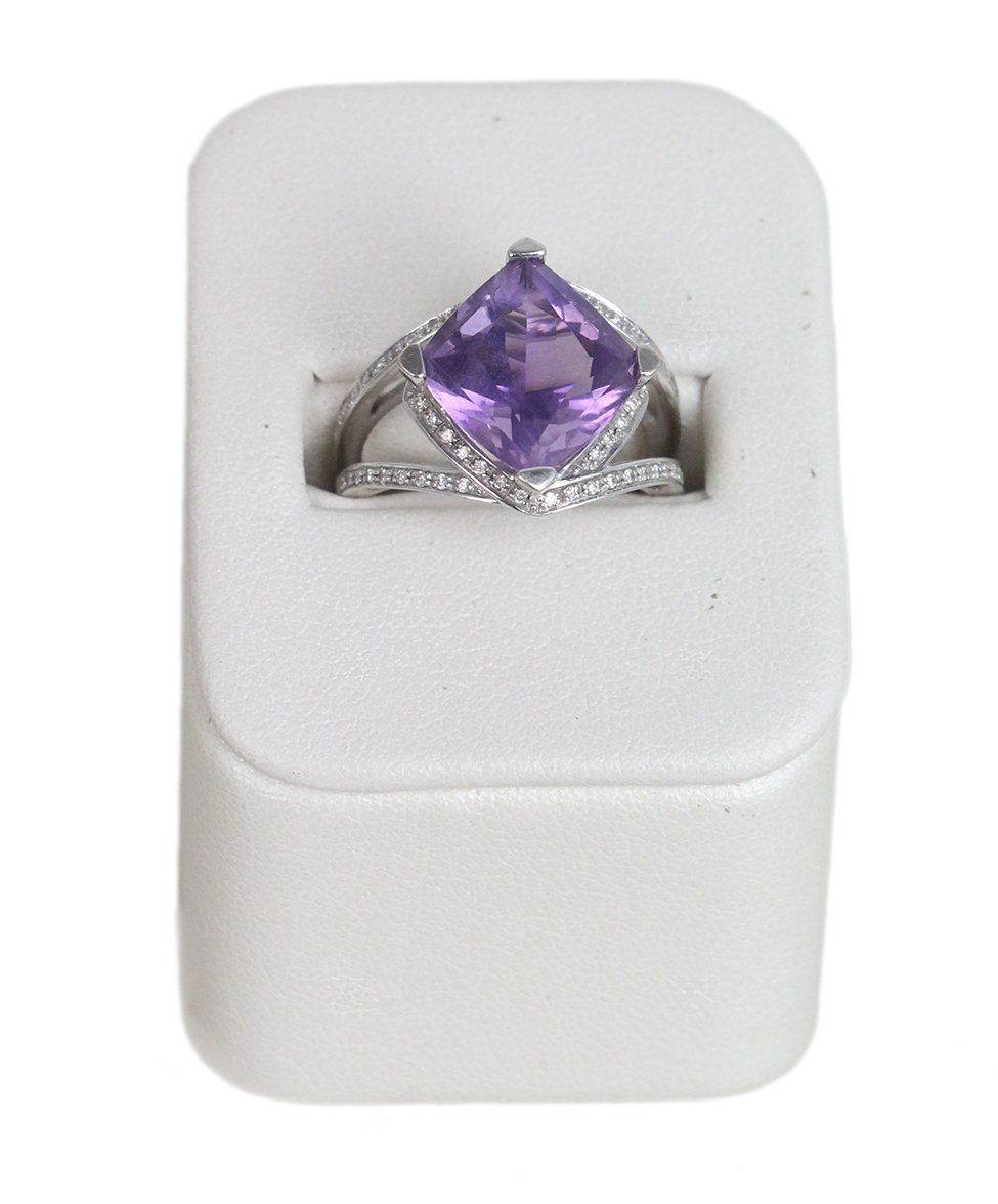 Mauboussin 18K Gold Amethyst Diamond ring 1