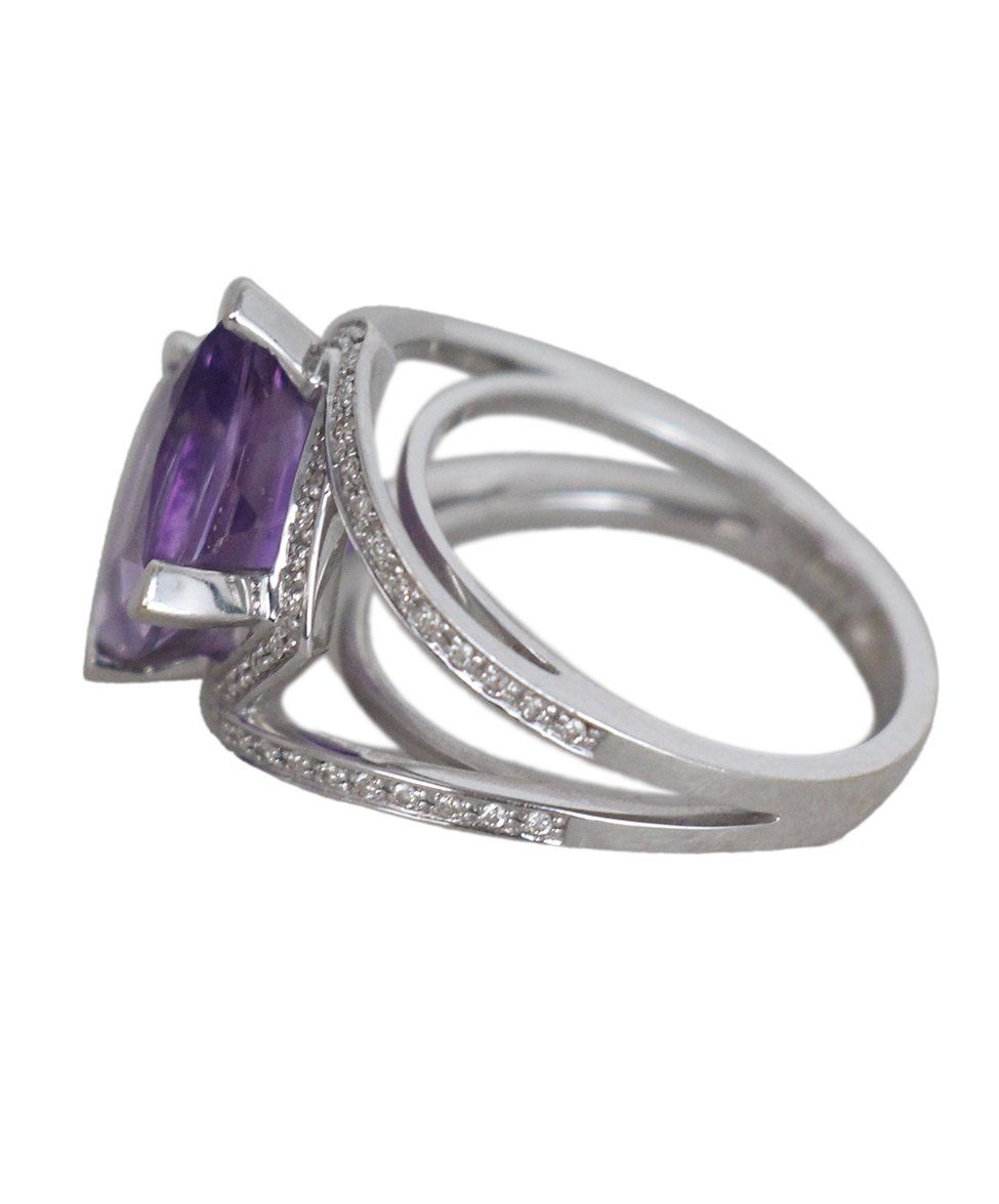 Mauboussin 18K Gold Amethyst Diamond ring 4
