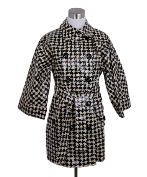 Max Mara Black Cream Cotton Houndstooth Trench Coat 1