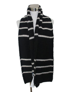 Max Mara Black White Stripes Mohair Wool Scarf 1