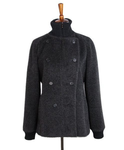Max Mara Grey Alpaca Wool Coat 1