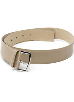 Max Mara Neutral Beige Leather Belt