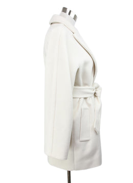 Max Mara White Cream Wool Cashmere Coat with Belt 2