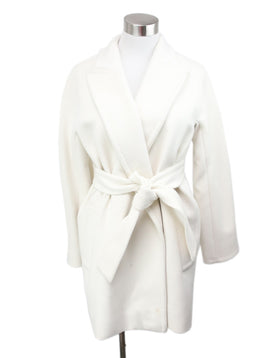 Max Mara White Cream Wool Cashmere Coat with Belt 1
