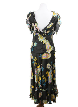 Max Mara Black Paisley Print Multi Silk Dress 1