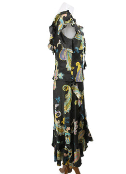 Max Mara Black Paisley Print Multi Silk Dress 2