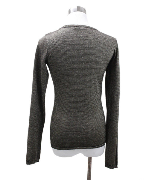 Max Mara Size 2 Metallic Gold Black Wool Sweater