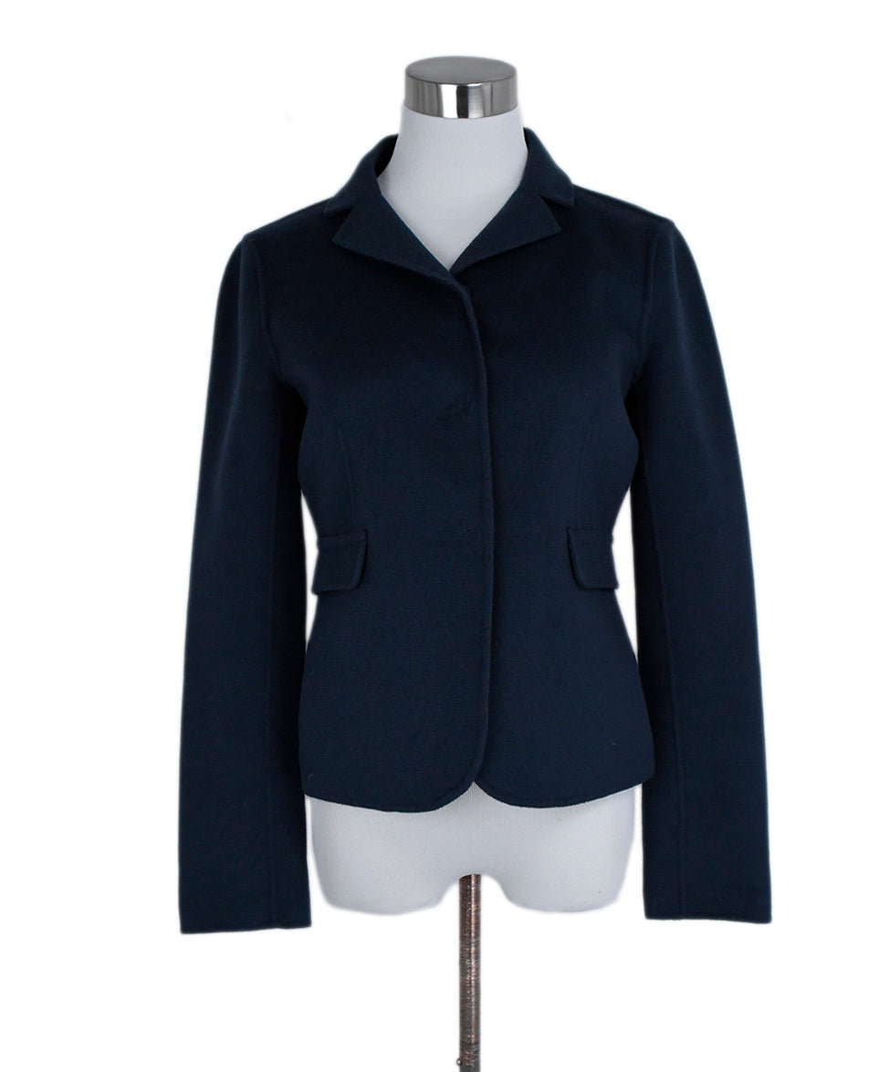 Max Mara Blue Navy Wool Angora Jacket 1