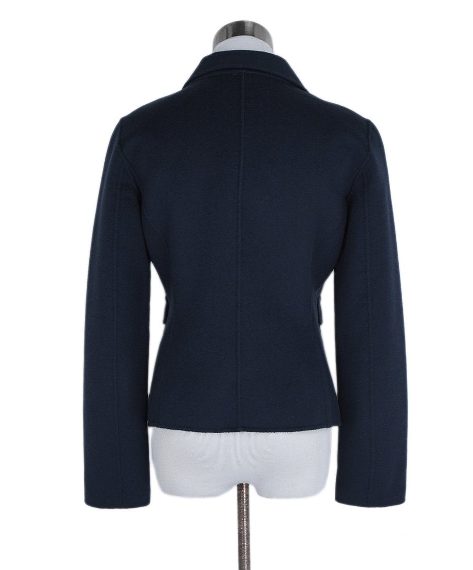 Max Mara Blue Navy Wool Angora Jacket 3