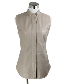 Vest Max Mara Neutral Taupe Leather Outerwear 1