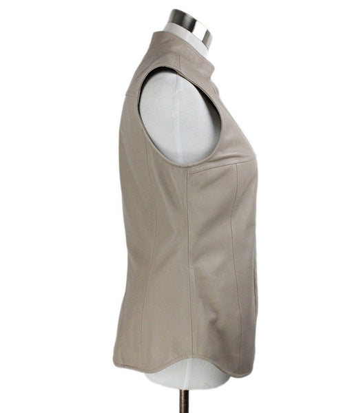 Vest Max Mara Neutral Taupe Leather Outerwear 2