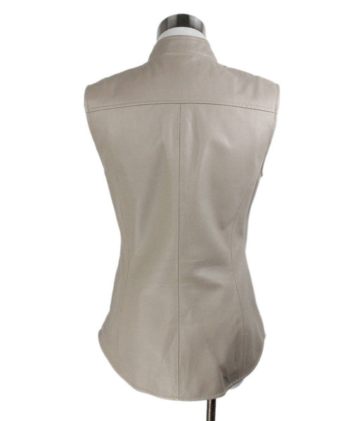 Vest Max Mara Neutral Taupe Leather Outerwear 3
