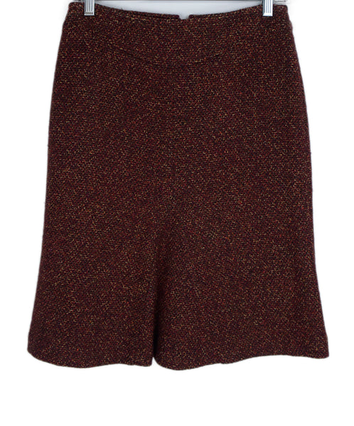 Max Mara Red Burgundy Brown Wool Skirt 1